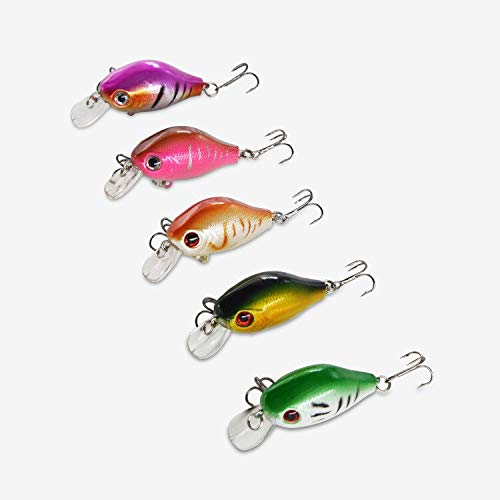 Discover Fish CrankBaits Fishing Lures Bass Panfish Crappie Trout Muskie Pike Lure Set Pro Topwater Swimbait Hard Plastic Baits Freshwater Saltwater 2.4inch 5Pcs/Lot