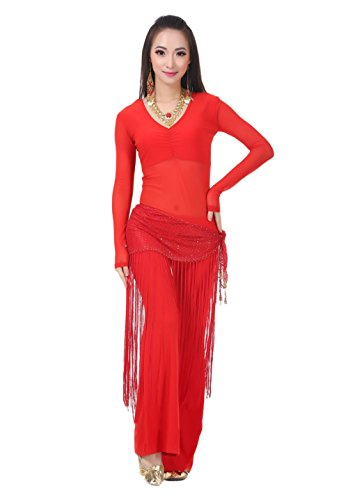 AvaCostume Belly Dance Transparent Tee Yoga Pant Mesh Tassels Hip Scarf, Red, Culotte