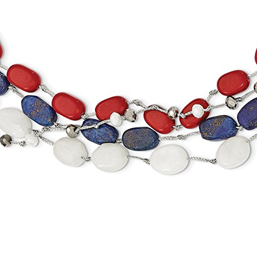 - 925 Sterling Silver Red Coral/multi Crystal/white Jade/lapis/2in Extension Chain Necklace Pendant Charm Natural Stone Multi Layer Fine Jewelry Gifts For Women For Her