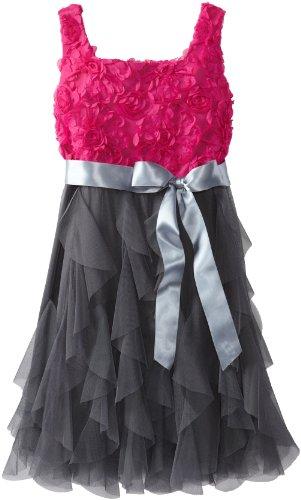 Rare Editions Big Girls' Soutach Ruffle Dress, Fuchsia/Black, 12
