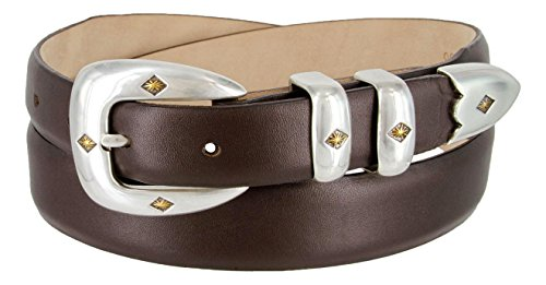 Tuscon Gold Italian Calfskin Leather Men's Designer Dress Golf Belt - Smooth Brown, 44