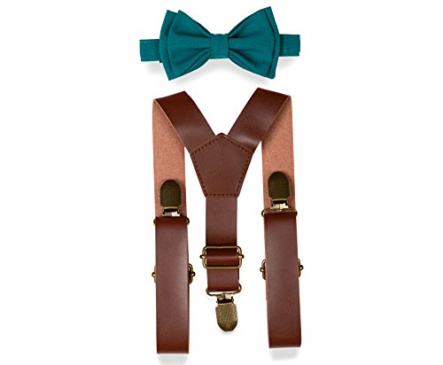 Brown PU Leather Suspenders Bow Tie Combo for