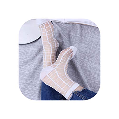 (Hipster Thin Ankle Socks Women Glass Short Socks Female Summer Art Fishnet Scoks Sox,W2)