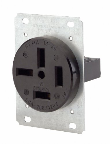 (Leviton 8350 50-Amp, 120/208 Volt, Flush Mounting Receptacle, Straight Blade, Industrial Grade, Non-Grounding,)