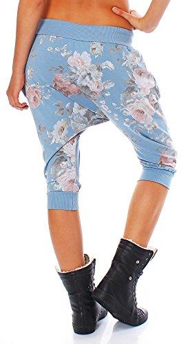 Chiaro Donna alla malito Pantaloni Harem Blu breve Aladin Baggy Taglia pantaloni zuava 20027 Yoga Unica wvXq6gv