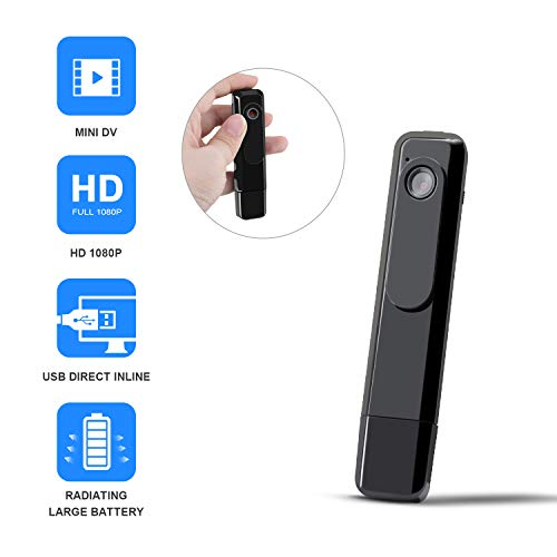 Pocket Spy - Mini Body Camera DZFtech Body Spy Cam HD 1080P Wireless Portable Hidden Spy Pen Body Cameras Wearable Video Recorder with Clip and USB Plug/Easy Press to Record for Home/Office