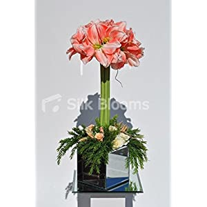 Beautiful Artificial Peach Amaryllis and Rose Tall Floral Table Arrangement 12