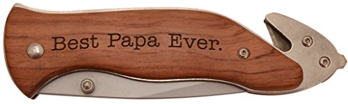 Rosewood Laser Pen (Best Papa Ever Laser Engraved Stainless Steel Folding Survival Knife)