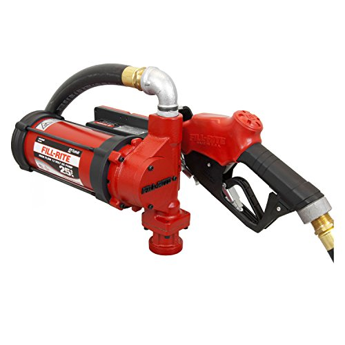 Fill-Rite FR3210B 12V DC Fuel Transfer Pump With a 1 Inch Ultra-High Flow Automatic Nozzle And A 18 Foot, 1 Inch Hose With Static Wire by Fill-Rite