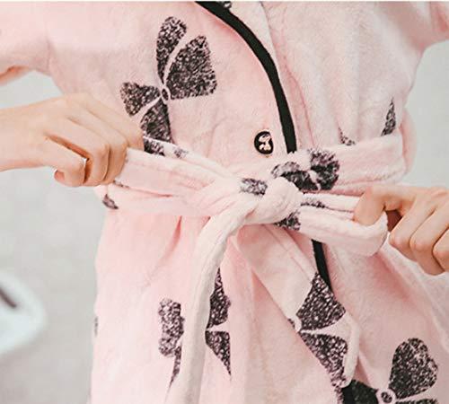 Camicia Morbido Donna Femminile Fleece Vestaglia Pigiama Notte LIUYL Vestaglia Con Confortevole Cappuccio Fiocco Stampato Da Flanella Pink Dolce Accappatoio Robe Da 0qWg7SW