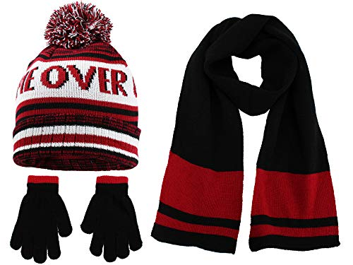 (Polar Wear Boys Knit Hat, Scarf And Gloves Set with Words- Red/Black)