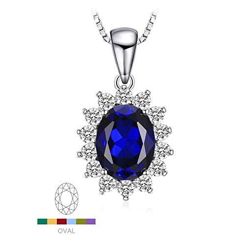 Jewelrypalace 3.2ct Gemstones Birthstone Created Blue Sapphire 925 Sterling Silver Halo Pendant Necklace For Women Princess Diana William Kate Middleton Necklace Chain Box 18 Inches ()
