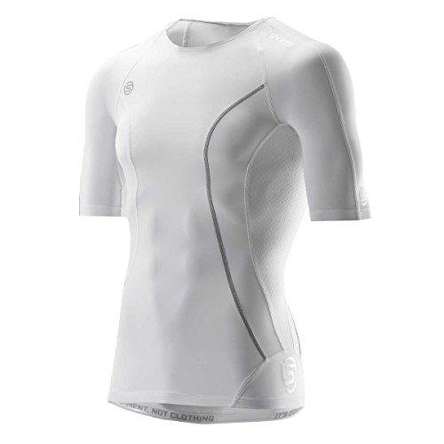 Skins Men's A100 Short Sleeve Compression Shirt, White, X-Large