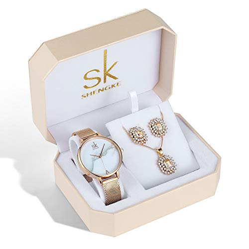 Women Watches Set Luxury Earring Necklace Jewelry Set Female Christmas Present Valentine's Day (K0039-Rose Gold-SS-Set) from SK SHENGKE