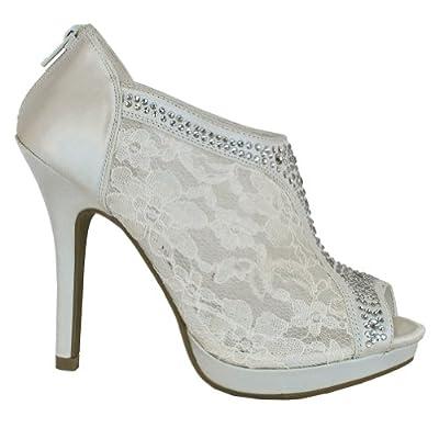 Mve Shoes Women'S Elegant Lace Platform Peep Toe Adjustable Ankle Strap Wit.