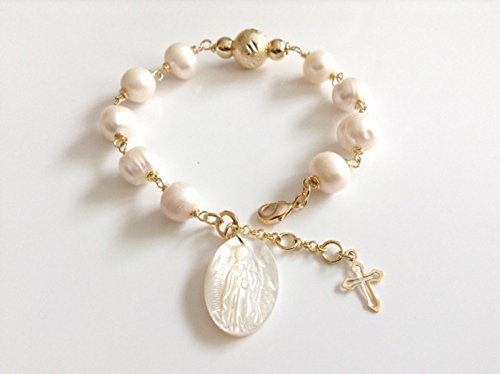 Our Lady of Guadalupe Medal adjustable Cultured Pearl Bracelet