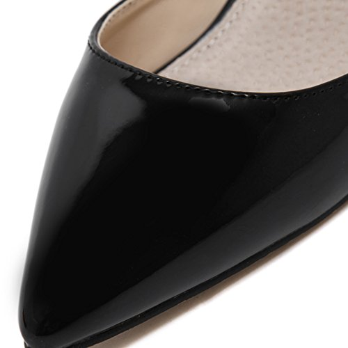 Womens Glossy Mule Sandals Slide Slippers Pointed-Toe Stiletto High Heel Slip On Pumps Black 3xCSZK