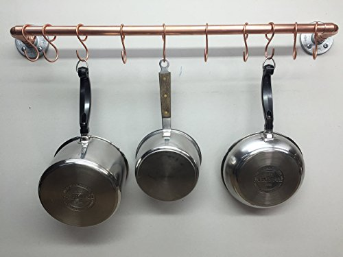 Wall or Ceiling mounted Copper Pot & Pan Rack by Cozy Expressions
