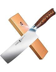 "TUO Cutlery Nakiri Knife - Vegetable Cleaver Kitchen Knives - German X50CrMoV15 Stainless Steel - Pakkawood Handle - Gift Box - 6.5"" - Fiery Series"