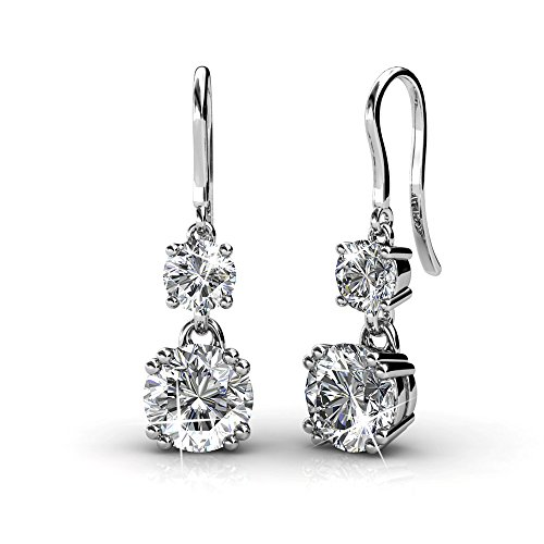 Cate & Chloe Kadence White Gold Dangle Earrings, 18k White Gold Plated Earrings with Swarovski Crystals, Womens Round Cut Crystal Earrings, Silver Earrings for Women