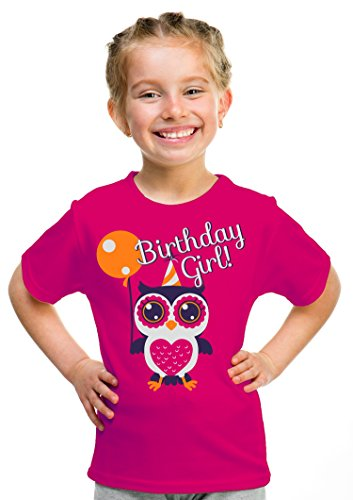 Birthday Girl Owl | Cute Owl Girly B-day Party Top, Girl's Unisex T-shirt - (Youth,XS)