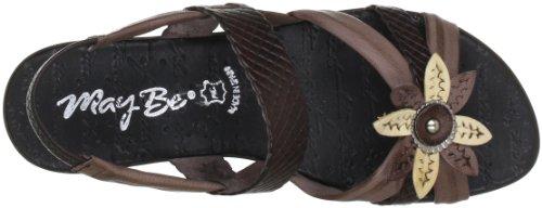 Maybe mb7134 7134 - Zapatos de pulsera de cuero para mujer Marrón (Braun (moke))