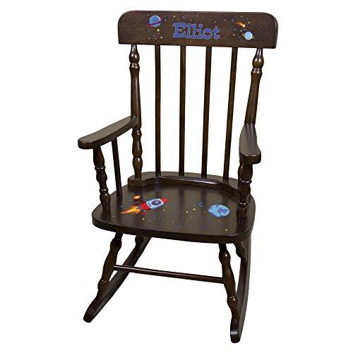 Personalized Espresso Rocketship Rocking Chair by MyBambino