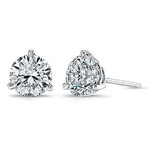 "PAVOI ""Hearts & Arrows"" Simulated Diamond CZ Stud Earrings 3-Prong Setting (D Color, VVS Clarity)"