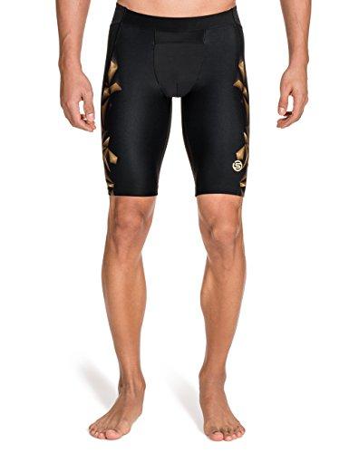 Skins Men's A400 Compression Half Tights, Black/Gold, - Skins Half Tights Sport