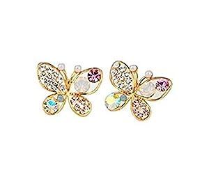 UNKE Women Girls Hollow Out Multicolour Crystal Shiny Rhinestone Butterfly Ear Stud Hook Earrings by UNKE