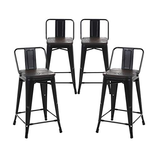 Buschman Set of 4 Matte Black Wooden Seat 24 Inch Counter Height Metal Bar Stools with Medium Back, Indoor/Outdoor ()