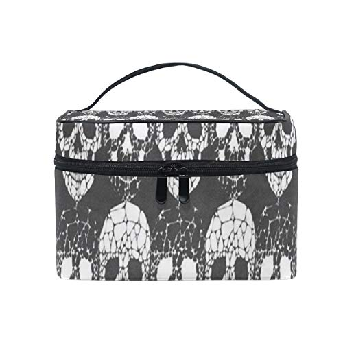 Cosmetic Bag Abstract Gothic Skull Womens Makeup Organizer Girls Toiletry Case Box Lazy Zip Bag ()