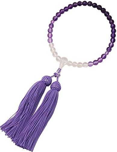 彩賀工房(Saigakoubou) 数珠 水晶紫水晶グラデ7片手共仕立 内周25cm・房10cm 各宗派兼用略式数珠