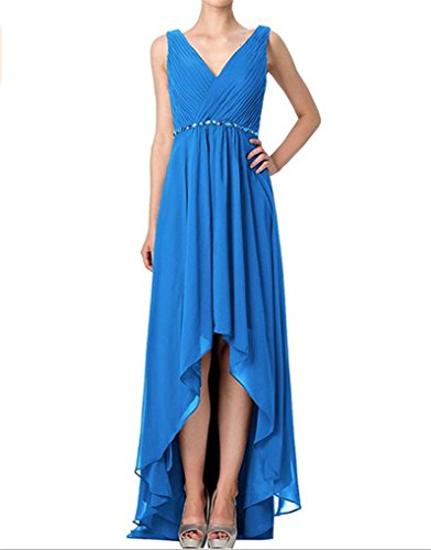 Blue High s Sashes Dresses Love Wedding Chiffon Bridesmaid Low King Ocean Beads Party Neck V Double Homecoming Sleeveless Evening RaUYdq8w