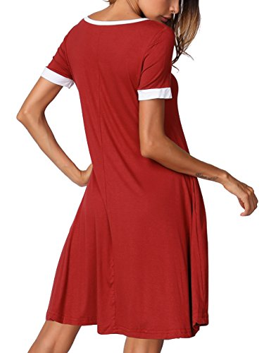 Color Loose Women's Sleeve T Dress DJT Short Block Red Pockets Swing Casual Shirt ZaxwfqU4