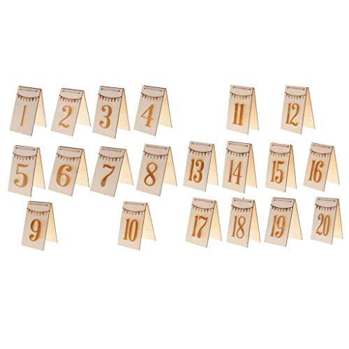 (1-20 Double Side Bunting Wooden Table Numbers Free Standing Table Decoration)