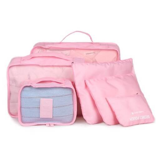 Clothes Travel Luggage Organizer Pouch (Light Pink) Set of 6 - 7