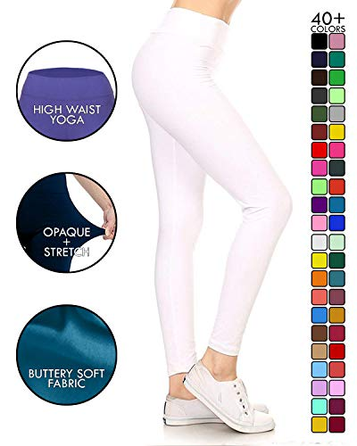 (LYX128-WHITE Yoga Solid Leggings, Plus)