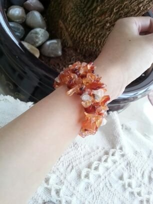 Honey-colored stone red pink stone bracelet braided bracelet