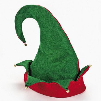 Felt Elf Hat with Jingle Bells - Size S/M -