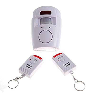 RioRand 105dB Security Alarm Siren with IR Motion Detector plus 2 Arm/ Disarm Remote Keychains - White