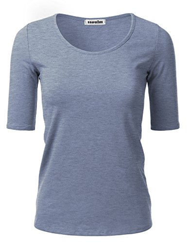 - SSOULM Women's 1/2 Sleeve Crewneck Cotton Basic Slim Fit T-Shirt Top LIGHTDENIM2T 2XL