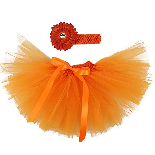 Ikerenwedding Baby Girl's Tutu Skirt 0 To 18 Months Headband Set For (Orange Tutu With Headband)
