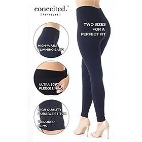 - 41mHa4mrtZL - Premium Women's Fleece Lined Leggings – High Waist – Regular Plus Size – 20+ Colors