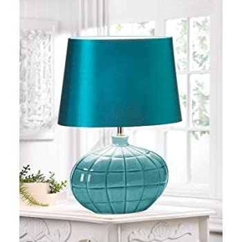Teal Turquoise Gallant Table Lamp Silken Fabric Shade Unique Home Decor