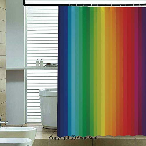 Shower Curtain with Hooks,Rainbow-Inspired-Vertical-Lines-Pattern-Spectrum-of-Colors-Abstract-Art-Palette-Decorative,72x78.7inch,for Any Bathtub,Multicolor ()
