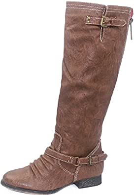 Women's Breckelle'S Outlaw-81 Tan Knee High Rider Boots Shoes, Tan, 8