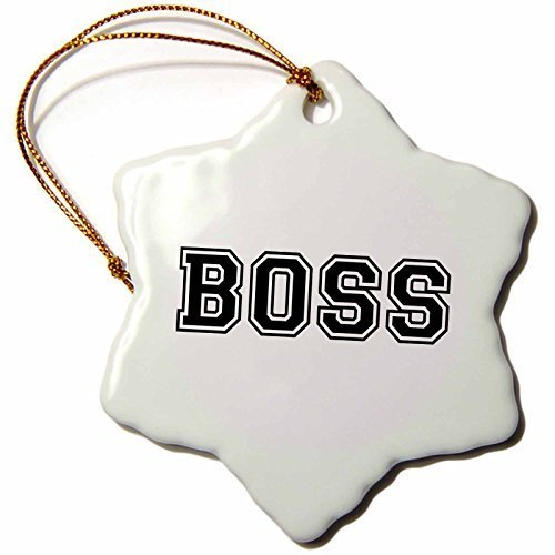 Snowflake Ornament Boss and Proud-Funny Gag Gift for The Head in Charge-Job Fun Humorous-Black Text-Snowflake Ornament, 3-Inch, -