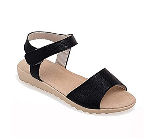 CHFSO Women's Casual Open Toe Hook and Loop Sandles Flats Shoes Black 9 B(M) US