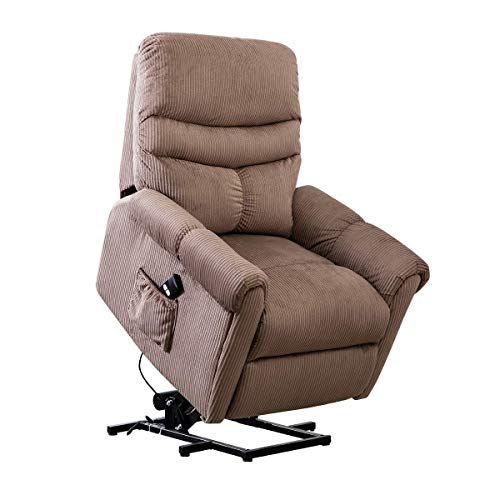 BONZY Power Recliner Lift Chair for Elderly Nursery with Gentle Motor Microfiber Plushed Cover- Camel